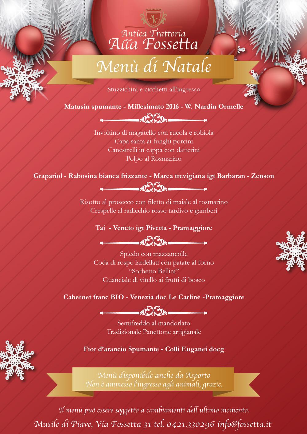 Menu Di Natale Tradizionale Veneto.Pranzo Di Natale La Fossetta