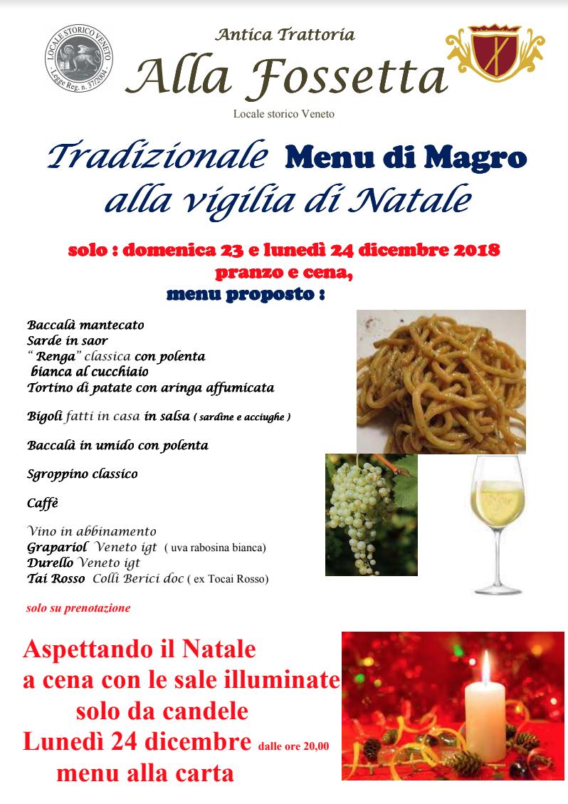 Menu Di Natale Tradizionale Veneto.Tradizionale Menu Di Magro Alla Vigilia Di Natale La Fossetta